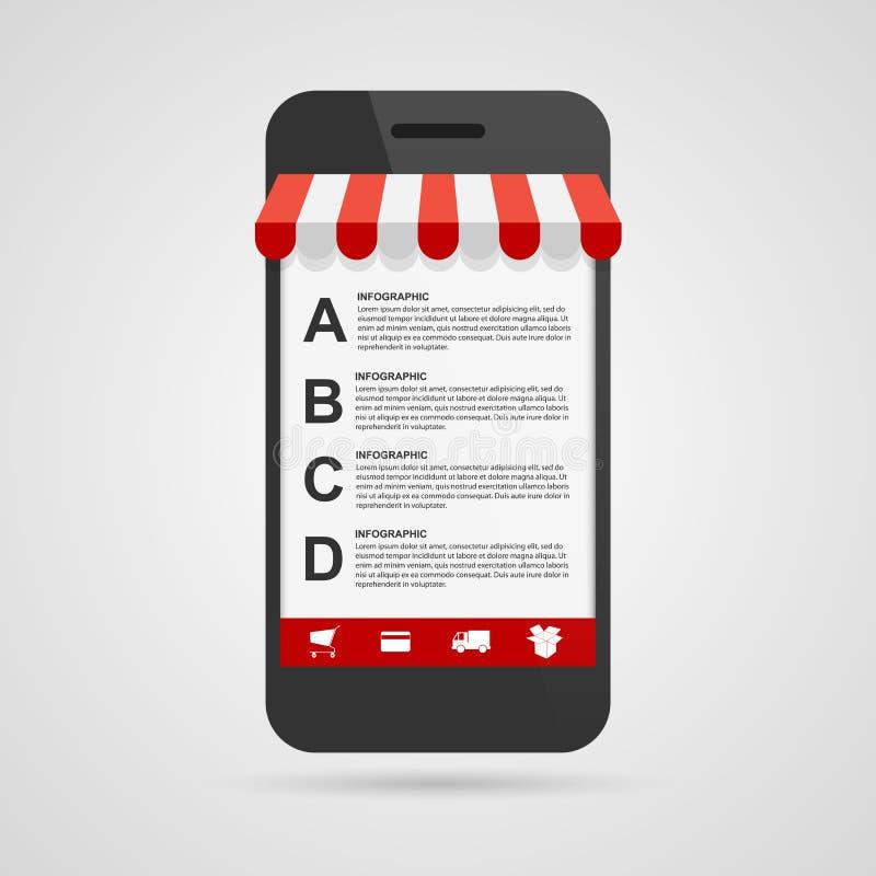 Infographic mall för affärsalternativ Mobil online-shopping färgrika designelement royaltyfri illustrationer