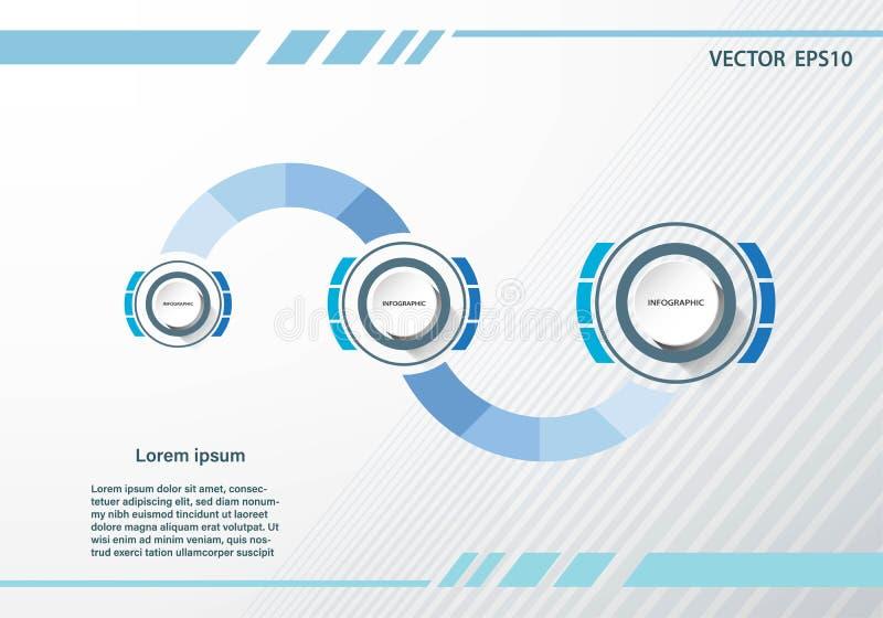 Infographic mall för affärsdatapresentation med 3 alternativ stock illustrationer