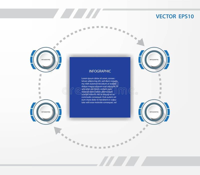 Infographic mall för affärsdatapresentation med 4 alternativ royaltyfri illustrationer