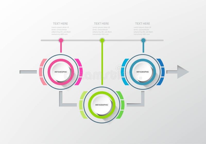 Infographic mall för affärsdatapresentation med 3 alternativ royaltyfri illustrationer
