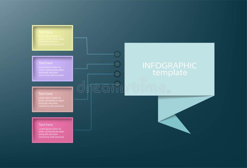 Infographic mall för affärsdatapresentation med 4 alternativ stock illustrationer