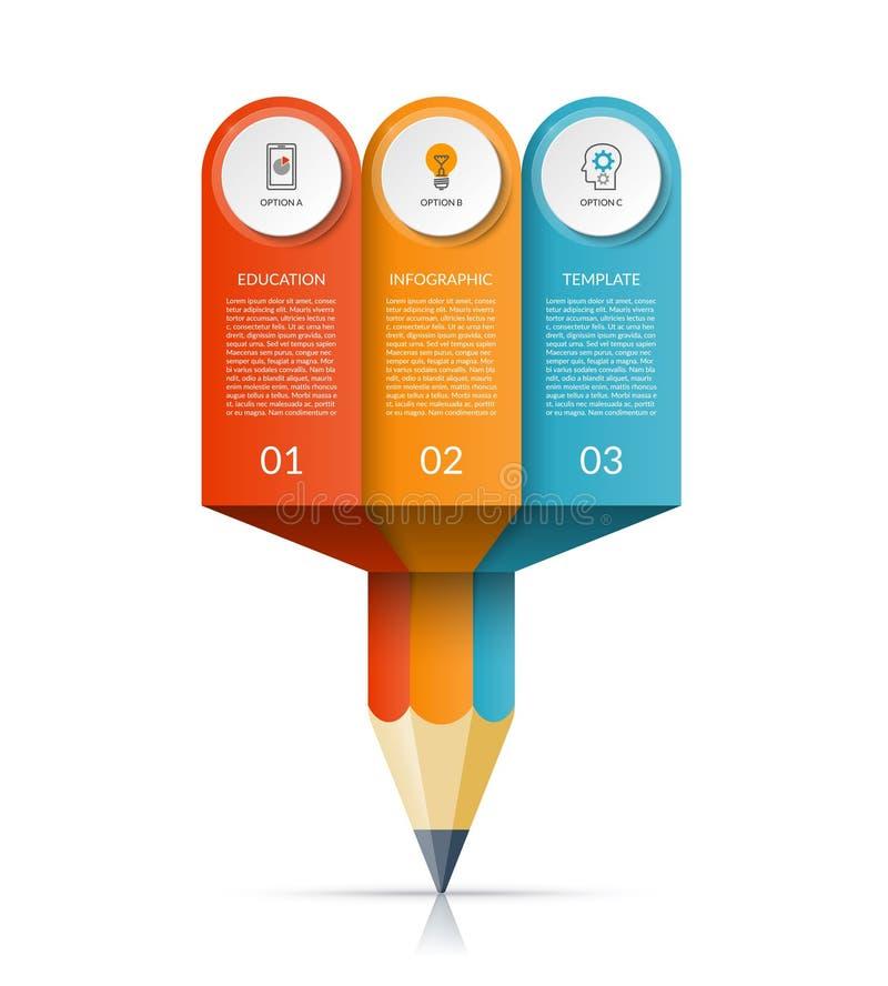 Infographic mall för affärsutbildningsblyertspenna stock illustrationer
