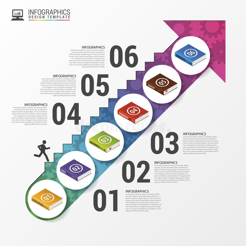 Infographic mall för bok modern affärsidé vektor royaltyfri illustrationer