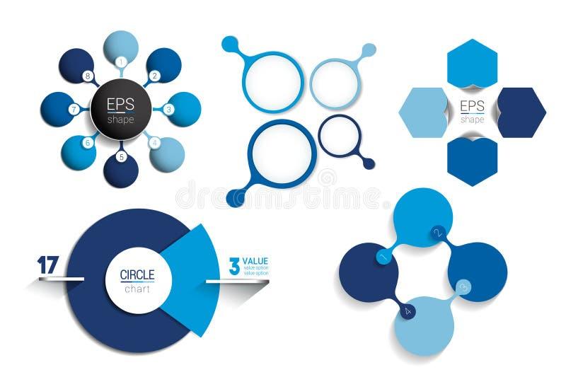 Infographic mall för cirkel Netto diagram för runda, graf, presentation, diagram royaltyfri illustrationer