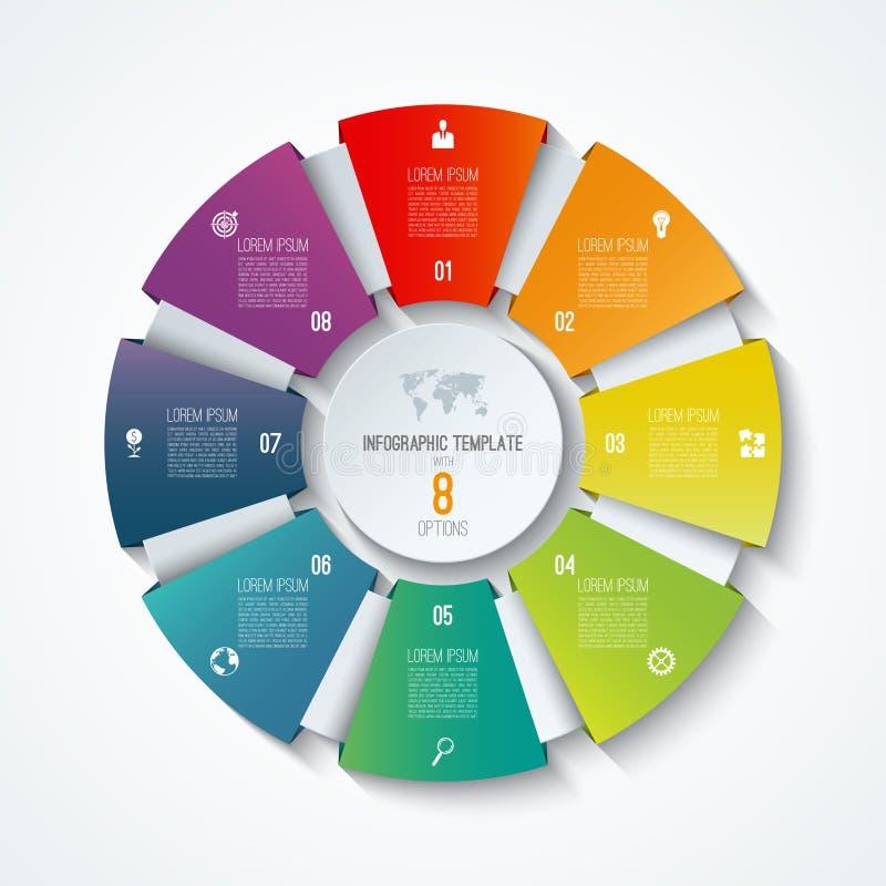 Infographic mall för cirkel Processhjul Vektorpajdiagram Affärsidé med 8 alternativ royaltyfri illustrationer