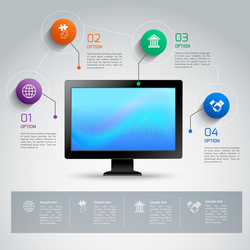 Infographic mall för dator royaltyfri illustrationer