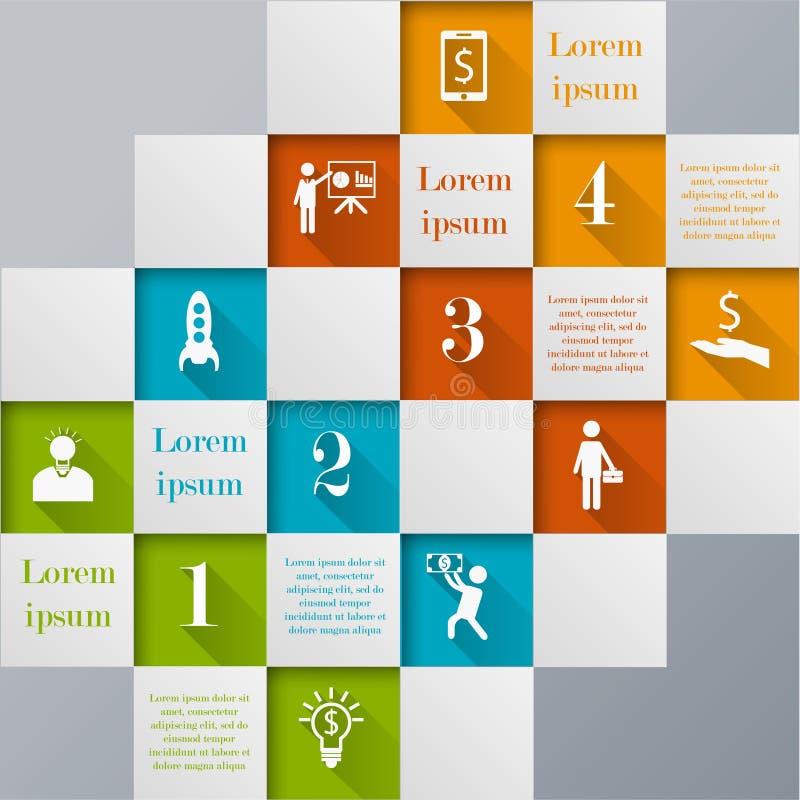 Infographic mall för Digital mosaik stock illustrationer