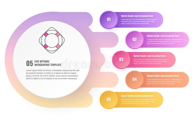 Infographic mall för fem alternativ stock illustrationer