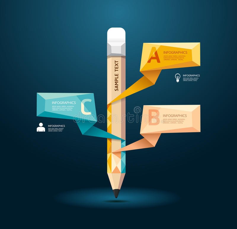Infographic mall för geometrisk blyertspennastil för modern design vektor illustrationer