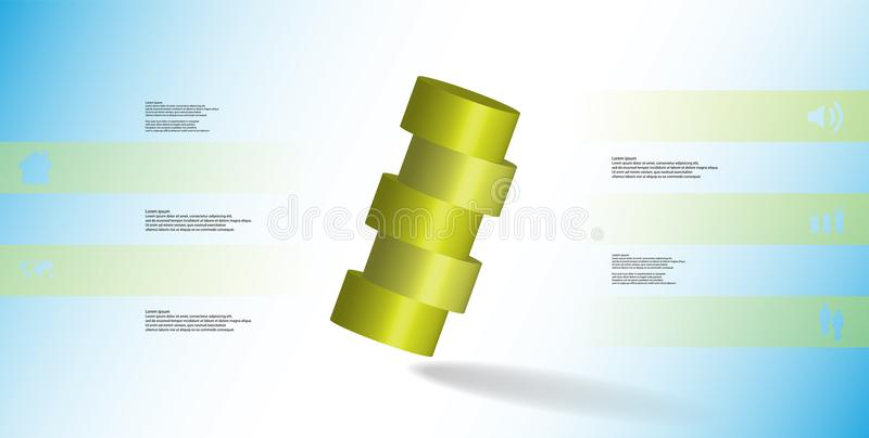 infographic mall för illustration 3D med cylindern som skivas horisontellt till ordnat för fem delar skevt royaltyfri illustrationer
