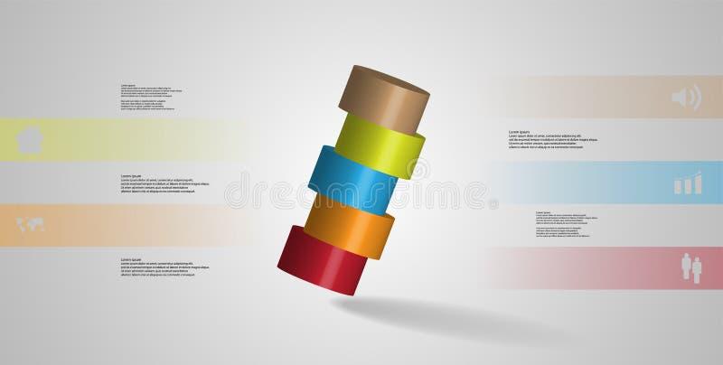 infographic mall för illustration 3D med cylindern som skivas horisontellt till ordnat för fem delar skevt vektor illustrationer