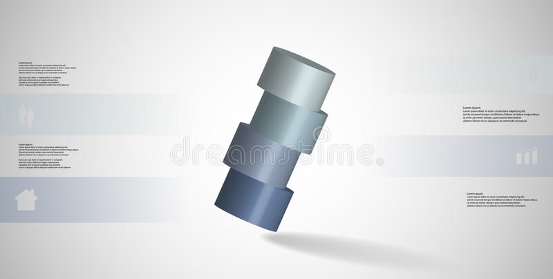infographic mall för illustration 3D med cylindern som skivas horisontellt till ordnat för fyra delar skevt vektor illustrationer