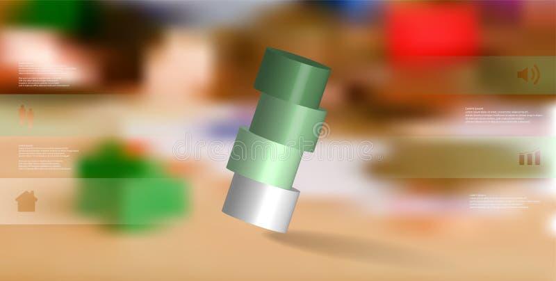 infographic mall för illustration 3D med cylindern som skivas horisontellt till ordnat för fyra delar skevt stock illustrationer