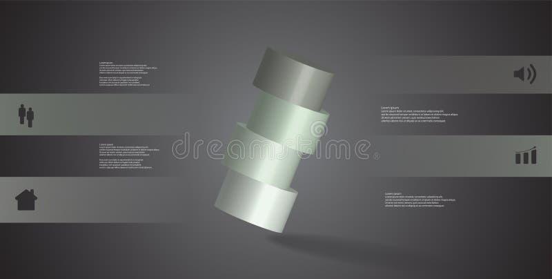 infographic mall för illustration 3D med cylindern som skivas horisontellt till ordnat för fyra delar skevt royaltyfri illustrationer