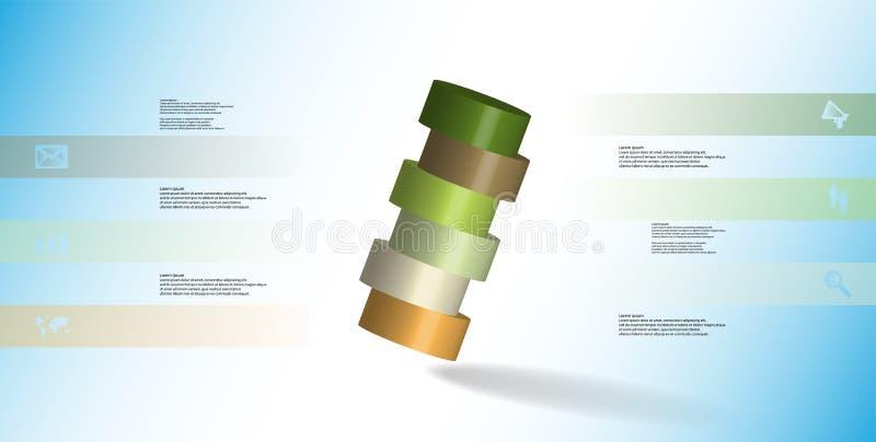 infographic mall för illustration 3D med cylindern som skivas horisontellt till ordnat för sex delar skevt royaltyfri illustrationer