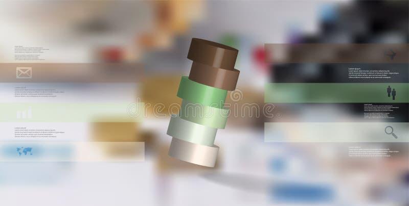 infographic mall för illustration 3D med cylindern som skivas horisontellt till ordnat för sex delar skevt vektor illustrationer