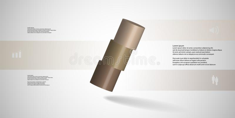 infographic mall för illustration 3D med cylindern som skivas horisontellt till ordnat för tre delar skevt vektor illustrationer