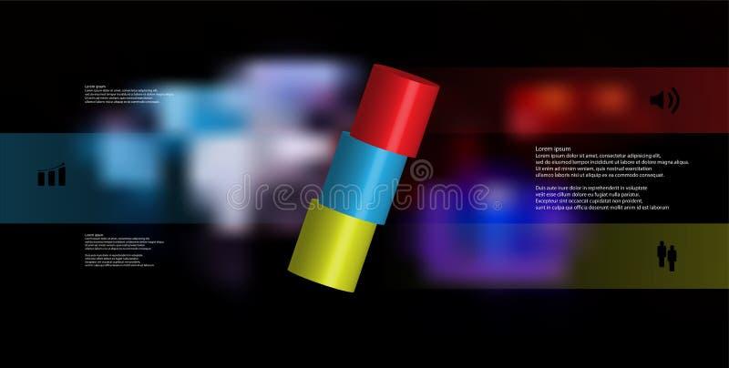 infographic mall för illustration 3D med cylindern som skivas horisontellt till ordnat för tre delar skevt royaltyfri illustrationer