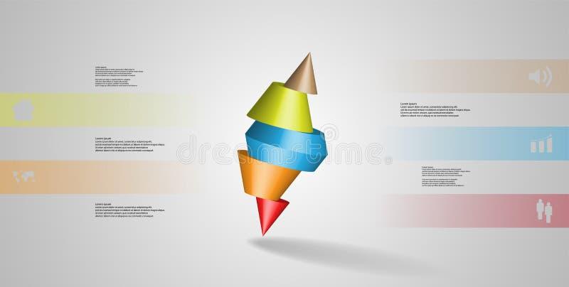 infographic mall för illustration 3D med den broddade kotten som skivas till fem delar och skevt ordnat stock illustrationer