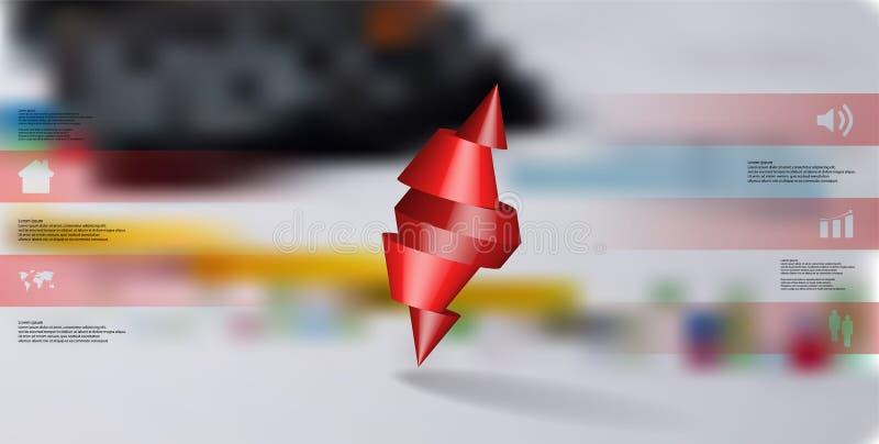 infographic mall för illustration 3D med den broddade kotten som skivas till fem delar och skevt ordnat vektor illustrationer