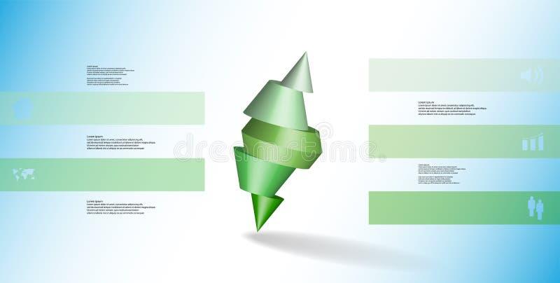 infographic mall för illustration 3D med den broddade kotten som skivas till fem delar och skevt ordnat royaltyfri illustrationer