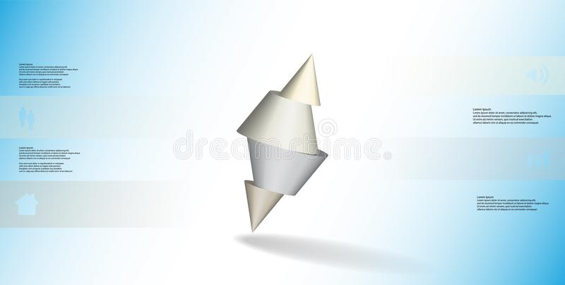 infographic mall för illustration 3D med den broddade kotten som skivas till fyra delar och skevt ordnat stock illustrationer