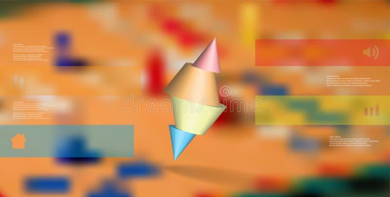 infographic mall för illustration 3D med den broddade kotten som skivas till fyra delar och skevt ordnat vektor illustrationer