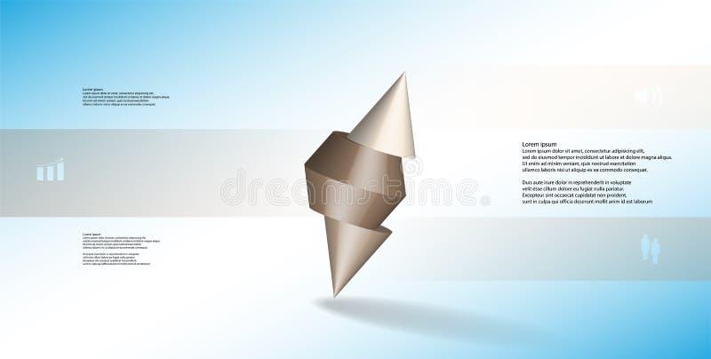 infographic mall för illustration 3D med den broddade kotten som skivas till tre delar och skevt ordnat royaltyfri illustrationer