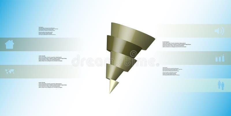 infographic mall för illustration 3D med den skeva kotten som skivas horisontellt till fem skiftade delar stock illustrationer