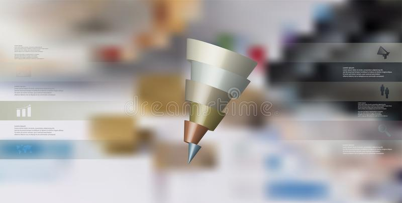 infographic mall för illustration 3D med den skeva kotten som skivas horisontellt till sex skiftade delar royaltyfri illustrationer