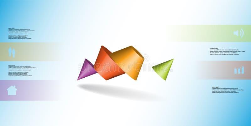 infographic mall för illustration 3D med den två broddade kotten som delas till fyra delar och skevt ordnat vektor illustrationer