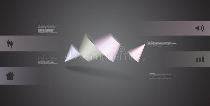 infographic mall för illustration 3D med den två broddade kotten som delas till fyra delar och skevt ordnat royaltyfri illustrationer