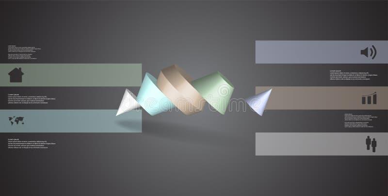 infographic mall för illustration 3D med den två broddade kotten som delas till ordnat för fem delar skevt stock illustrationer