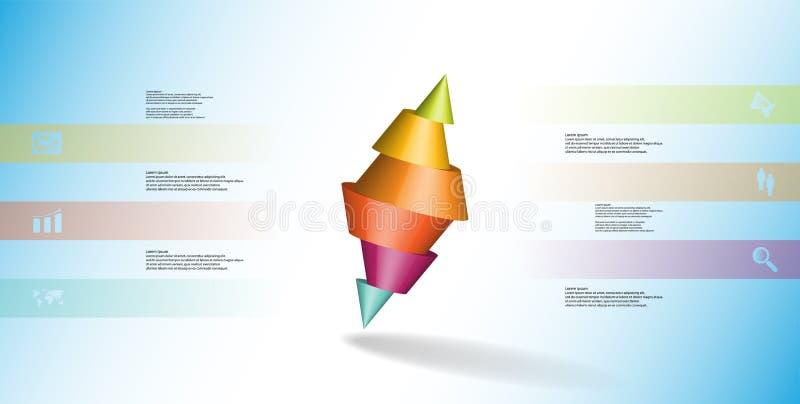 infographic mall för illustration 3D med den två broddade kotten som delas till sex delar och skevt ordnat stock illustrationer