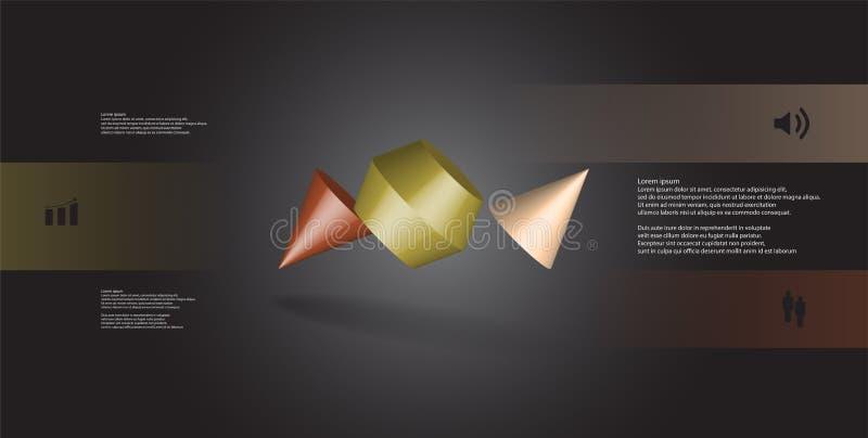 infographic mall för illustration 3D med den två broddade kotten som delas till tre delar och skevt ordnat vektor illustrationer