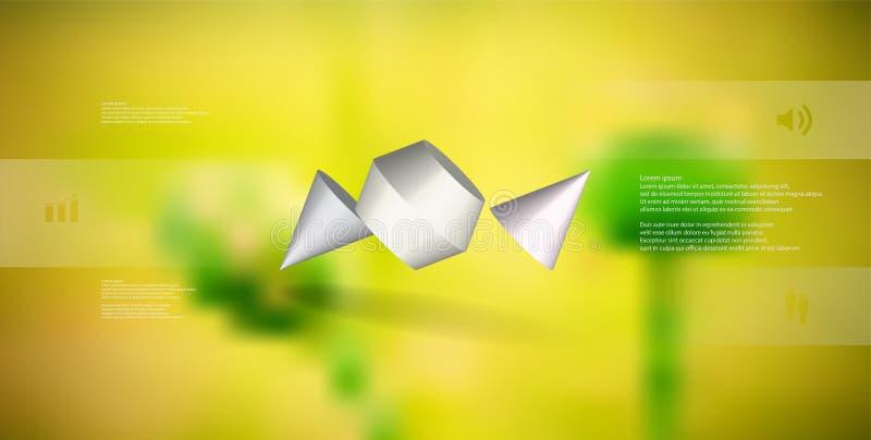 infographic mall för illustration 3D med den två broddade kotten som delas till tre delar och skevt ordnat stock illustrationer