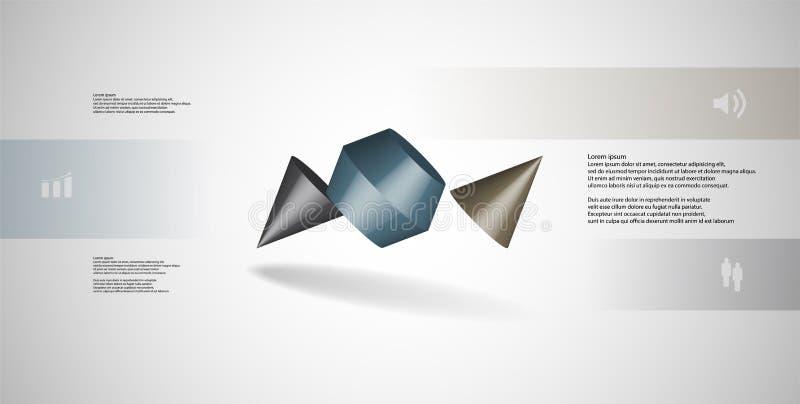 infographic mall för illustration 3D med den två broddade kotten som delas till tre delar och skevt ordnat royaltyfri illustrationer
