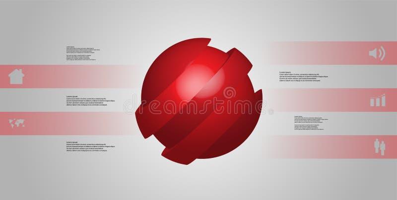 infographic mall för illustration 3D med skevt för boll som skivas till fem skiftade delar stock illustrationer