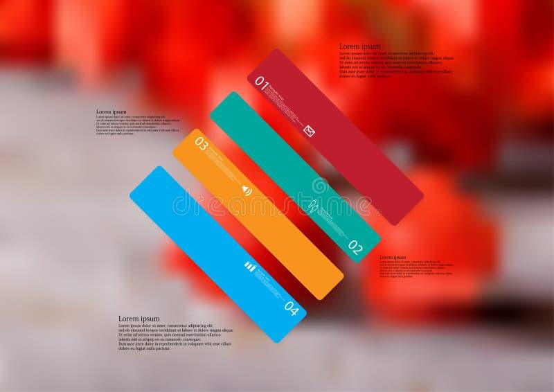 Infographic mall för illustration med skevt för romb som delas till fyra fristående färgdelar stock illustrationer