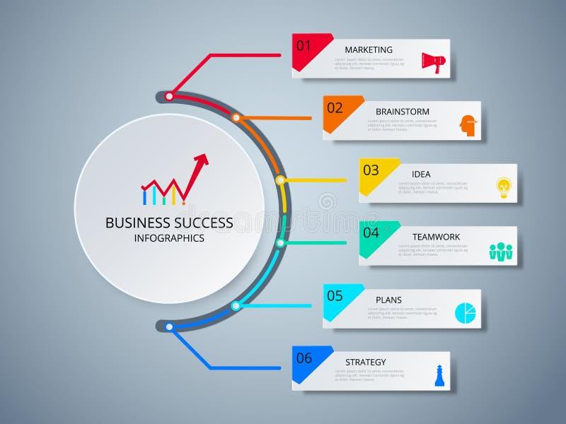 Infographic mall för lyckad affärsidécirkel Infographics med symboler och beståndsdelar vektor illustrationer