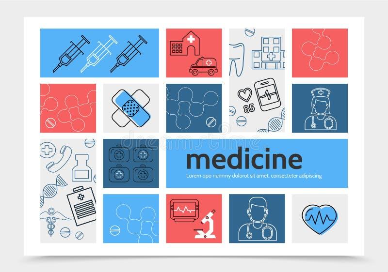Infographic mall för medicin royaltyfri illustrationer
