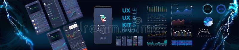 Infographic mall för mobil app med den veckomoderna designen och statistikgrafer vektor illustrationer