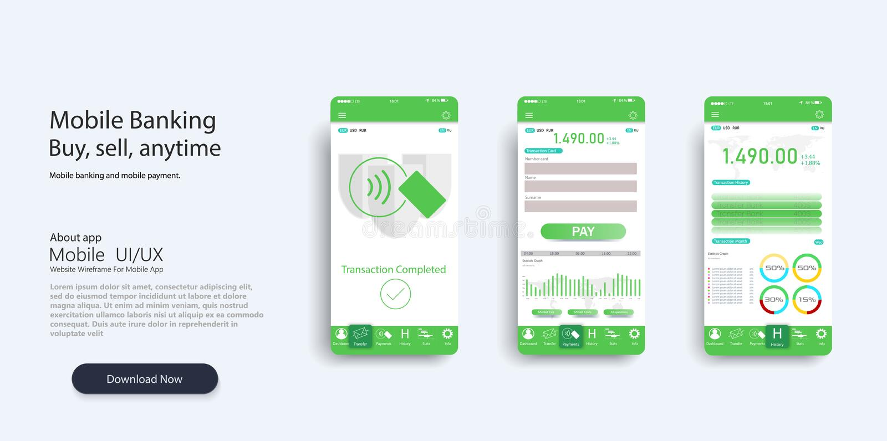 Infographic mall för mobilapp med vecko- och årliga statistikgrafer för modern design Cirkeldiagram, vektor illustrationer