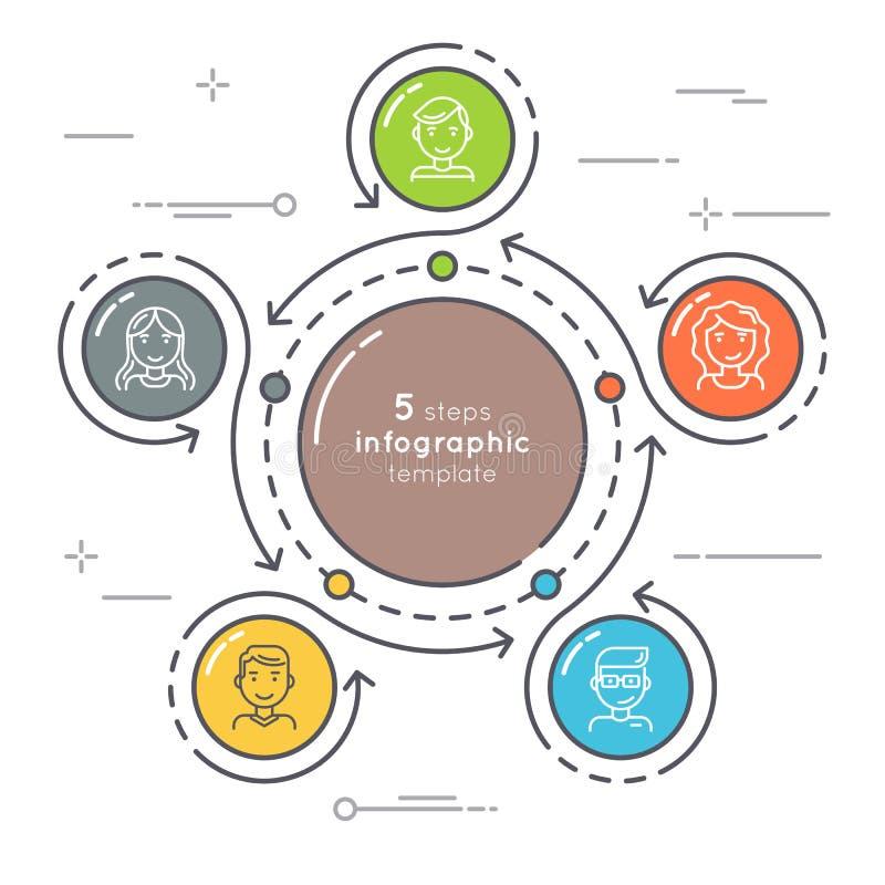 Infographic mall för plan momentcirkel för stil 5 Gör linjen busine tunnare stock illustrationer