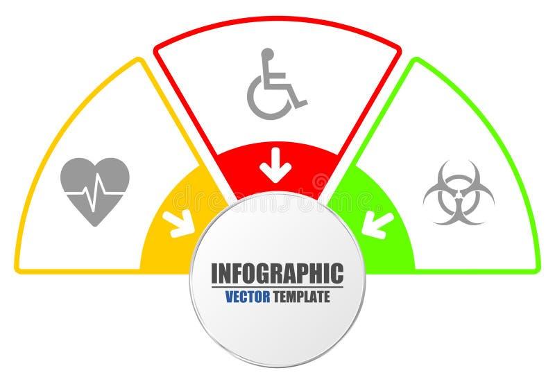 Infographic mall för presentationen, diagram, diagram, graf, medicin, sjukhus, läkare, sjukvårdbegrepp vektor illustrationer