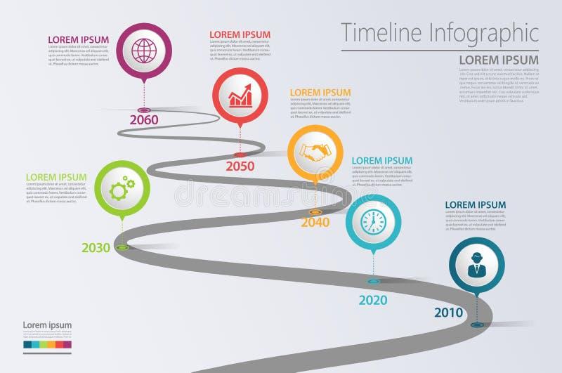 Infographic mall för presentationsaffärsfärdplan med 6 alternativ arkivfoto