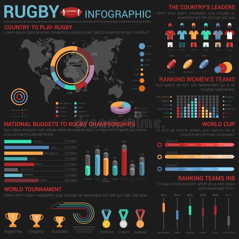Infographic mall för rugby eller för amerikansk fotboll med medaljer och koppar stock illustrationer