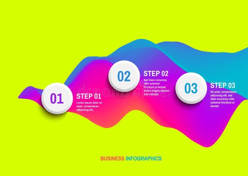 Infographic mall för start med tre moment äganderätt för home tangent för affärsidé som guld- ner skyen till krabb bakgrund 3D me royaltyfri illustrationer