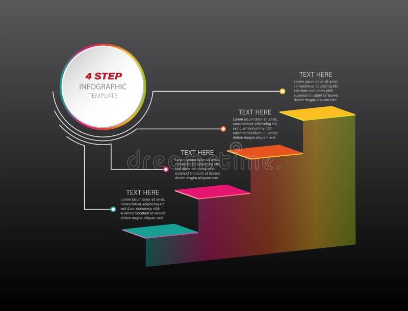 Infographic mall för Timelinemomentaffär med 4 alternativ eller moment stock illustrationer