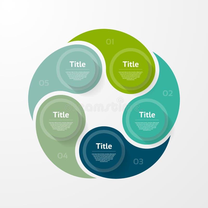 Infographic mall för vektor för diagram, graf, presentation och diagram Affärsidé med 5 alternativ, delar, moment stock illustrationer